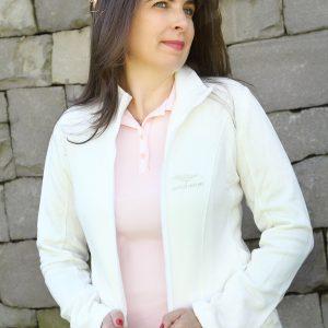 Jaqueta com Ziper em moletinho, combinando com Polo rosa e calca  com tiras bicolor laterais