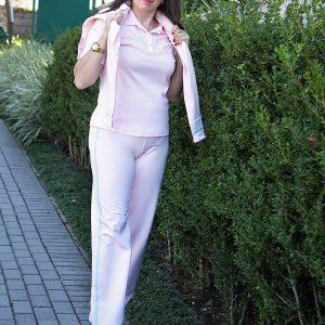 Calça lisa sport fleecer nas cores branco e rosa